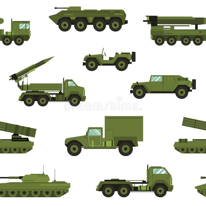 与军事运输的无缝的样式在白色背景-坦克,火炮拖拉机,火箭发射系统 向量例证