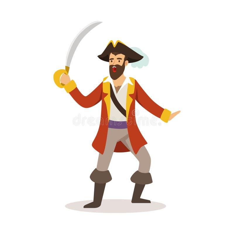 与军刀传染媒介例证的勇敢的海盗水手字符 库存例证