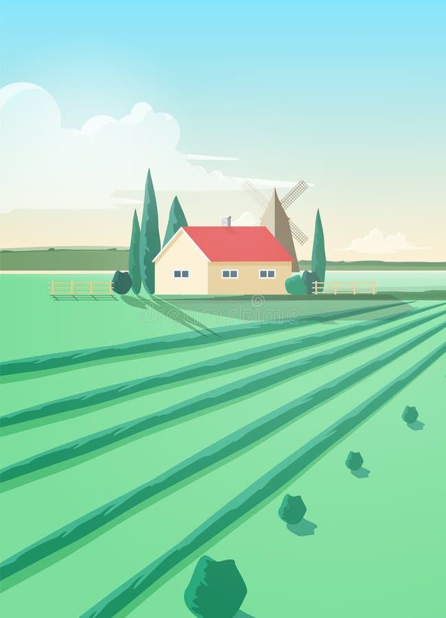 与农业大厦或房子的垂直的乡下风景和反对风车和天空的被犁的绿色领域与 向量例证