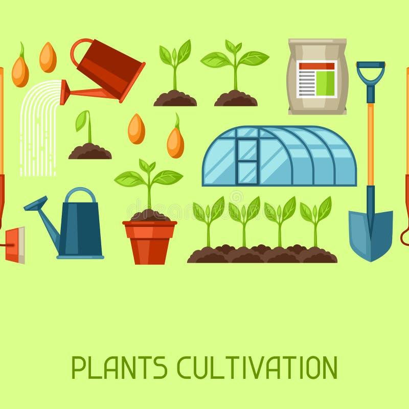 与农业对象的无缝的样式 为耕种,植物幼木过程,阶段植物生长的仪器 皇族释放例证