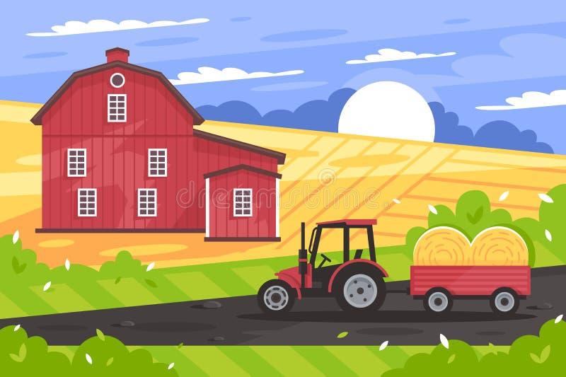 与农厂房子、路、拖拉机、领域和干草的平的乡下风景 向量例证