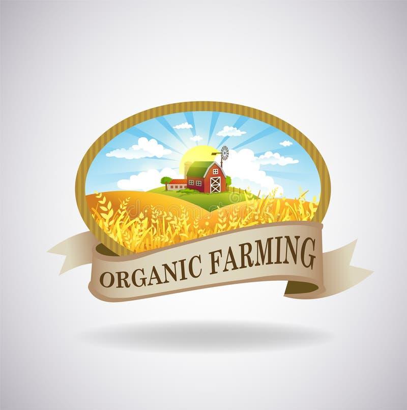 与农场的图象的标签 库存例证