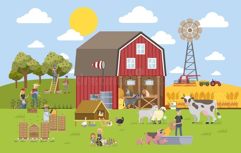 与农场的夏天风景 皇族释放例证