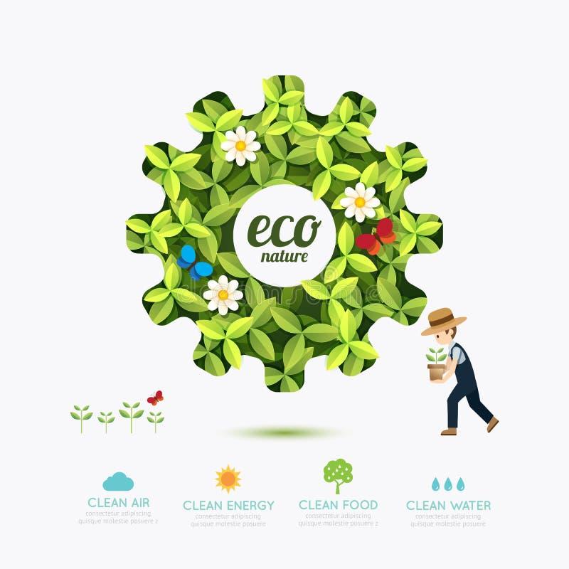 与农夫模板设计的生态infographic绿色齿轮形状 皇族释放例证