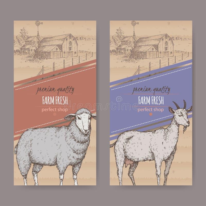 与农舍、谷仓、绵羊和山羊的两个农厂商店标签 库存例证