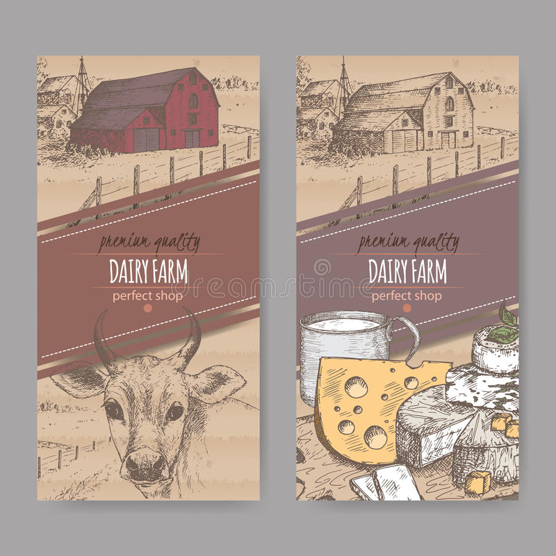 与农舍,母牛,乳酪,牛奶杯子的两种颜色的牛奶店标签 皇族释放例证