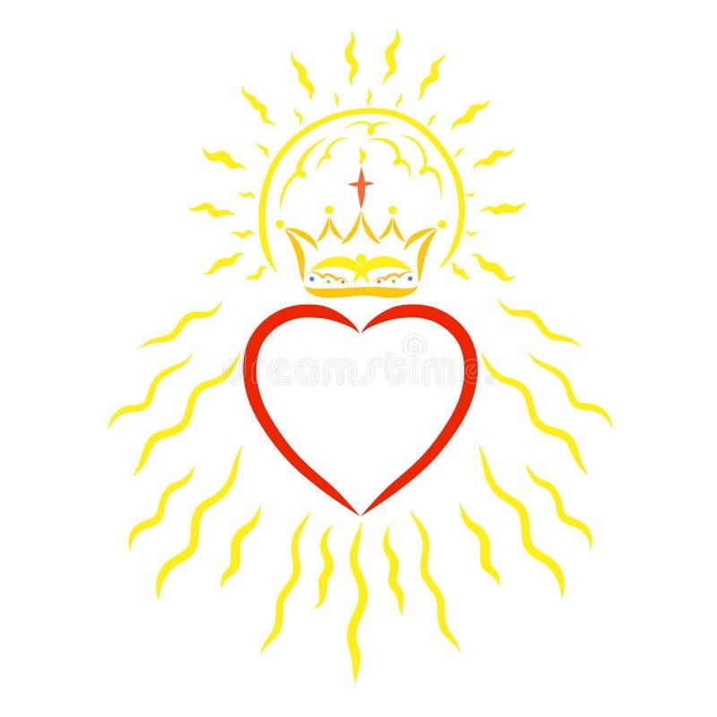 与冠、太阳和光芒的心脏 皇族释放例证