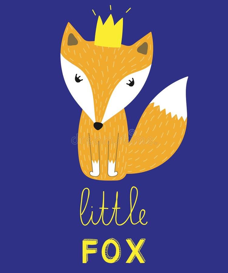 与冠传染媒介例证的小的狐狸口号动物时尚孩子的打印 库存例证