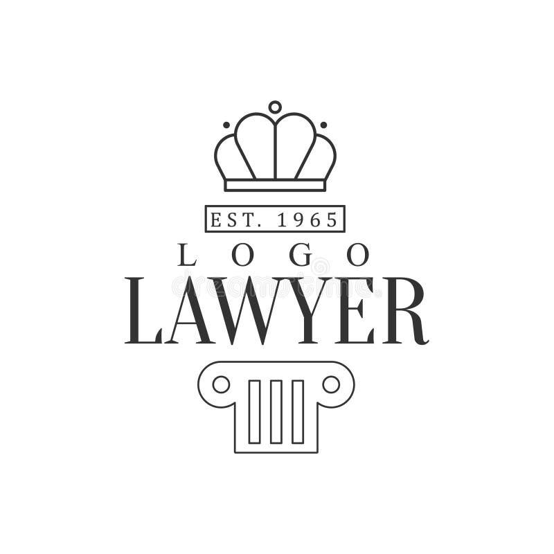 与冠和柱子正义标志剪影的律师事务所和律师事务所黑白商标模板 皇族释放例证