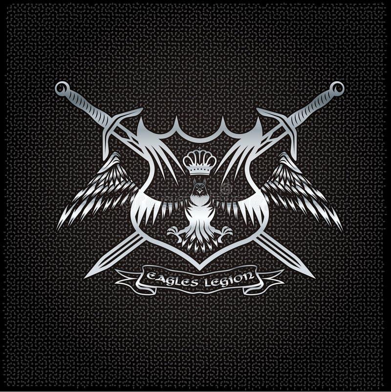 与冠的老鹰和剑在金属背景顶饰 向量例证