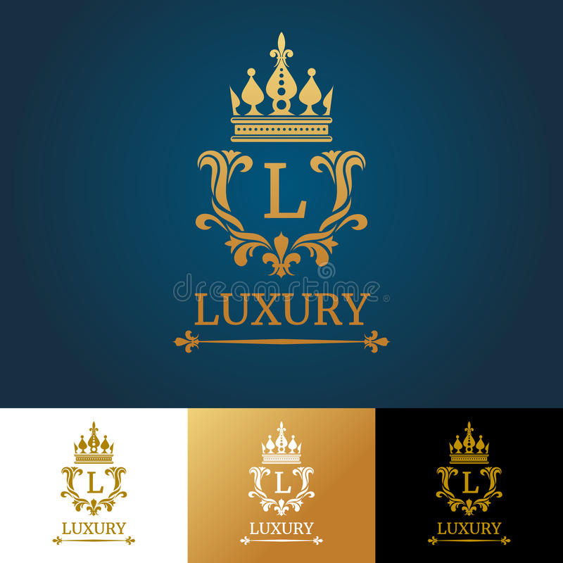 与冠的组合图案 皇家设计传染媒介商标模板 皇族释放例证