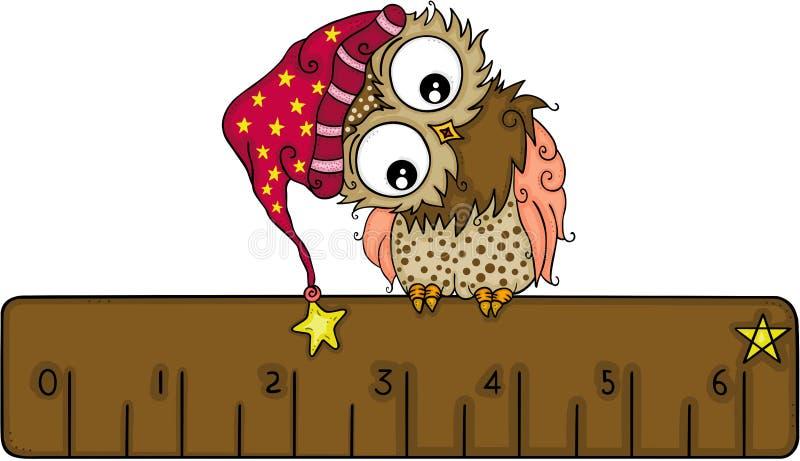 与冬天帽子的逗人喜爱的猫头鹰在棕色统治者 库存例证