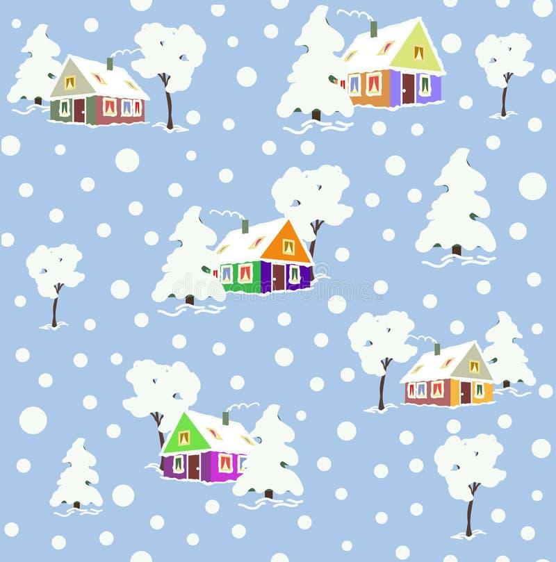 与冬天房子和树的样式 皇族释放例证