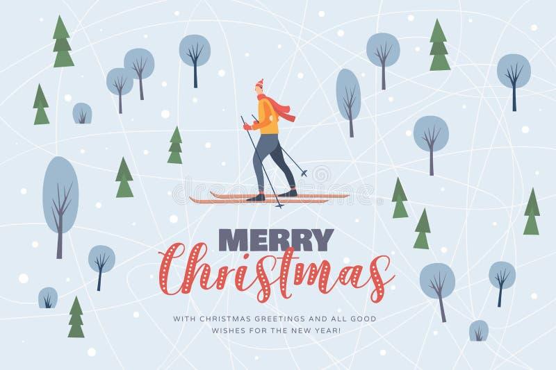 与冬天森林和一个滑雪者的图象的圣诞节图片在积雪的树中 库存例证