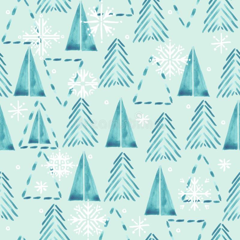 与冬天森林和雪花的无缝的样式 水彩冬天森林背景 圣诞树样式 皇族释放例证