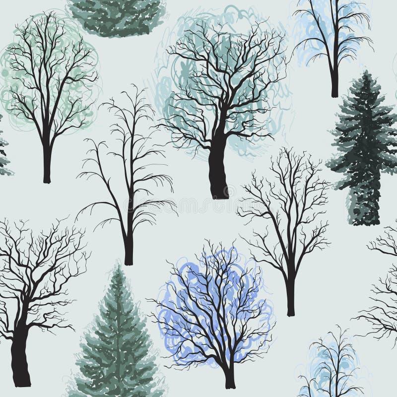 与冬天落叶针叶树集合的无缝的样式 美好的圣诞节例证结构树向量 库存例证