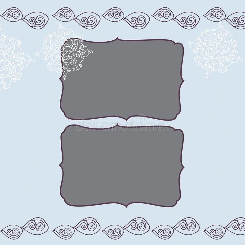 与冬天蓝色冷淡的圣诞节样式的方形的框架 皇族释放例证