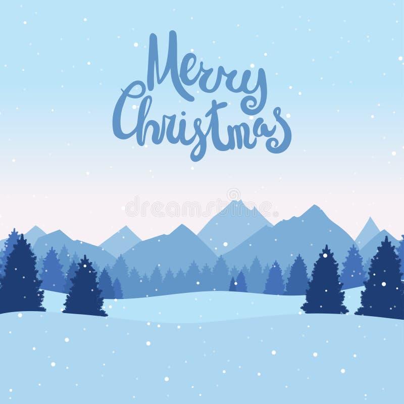 与冬天风景的圣诞节明信片与杉树,山 皇族释放例证