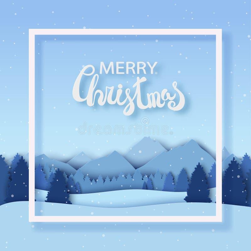 与冬天风景的纸圣诞节明信片与杉树, 库存例证
