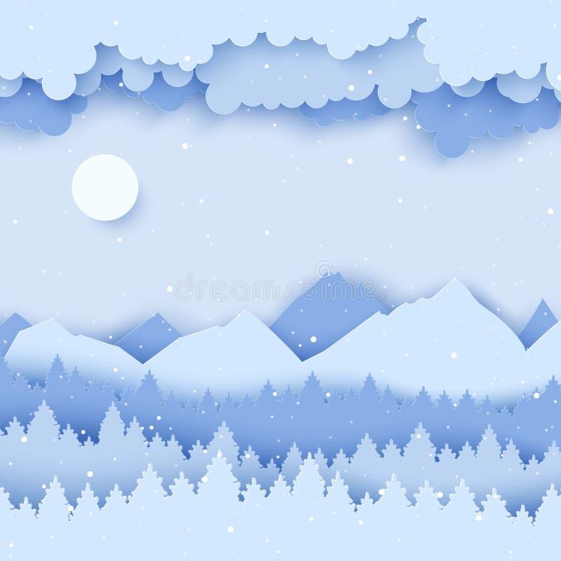 与冬天风景的纸圣诞节明信片与杉树, 皇族释放例证