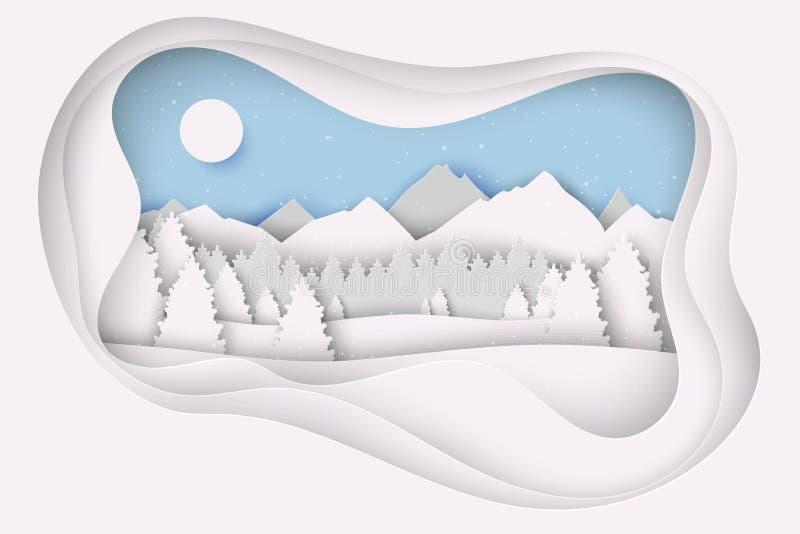 与冬天风景的纸圣诞节明信片与杉树 皇族释放例证