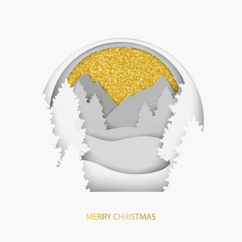 与冬天风景的纸圣诞节明信片与金黄闪烁 库存例证