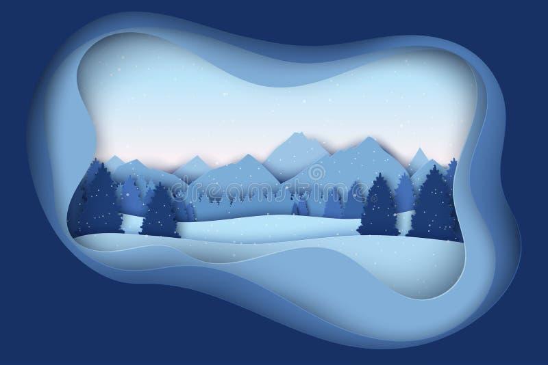 与冬天风景的纸圣诞节明信片 杉树,山 皇族释放例证