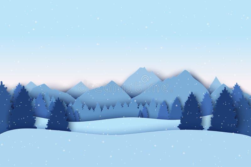 与冬天风景的纸圣诞节明信片 杉树,山 库存例证
