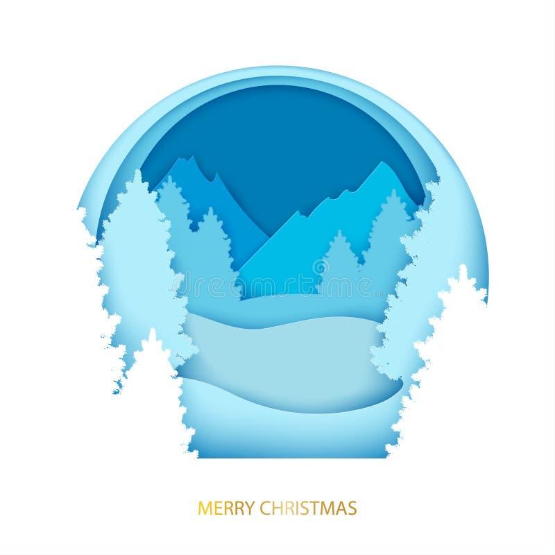 与冬天风景的纸圣诞节明信片 杉树, moun 向量例证