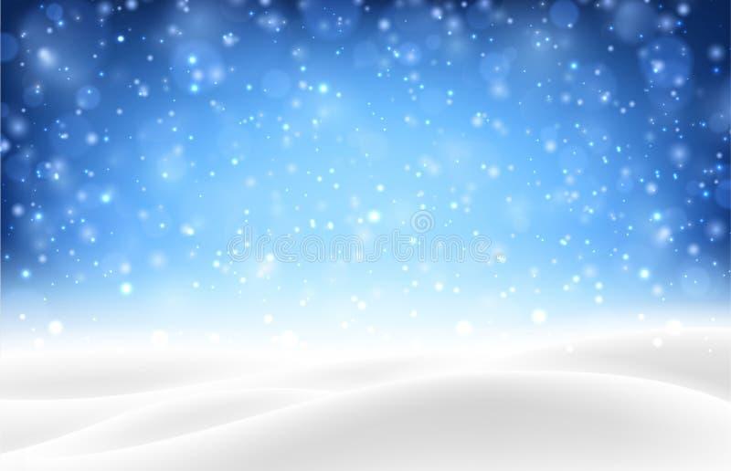 与冬天风景的蓝色发光的seasona的背景和雪 向量例证