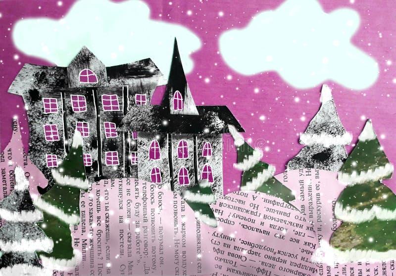 与冬天风景的被削减的纸拼贴画 向量例证