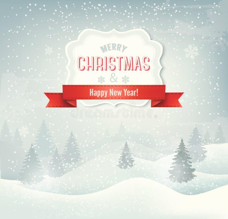与冬天lan的减速火箭的假日圣诞节背景 向量例证