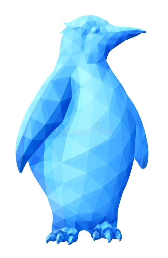 与冰冷的企鹅的蓝色低多艺术 向量例证