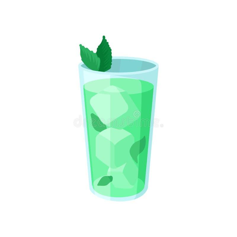 与冰和薄菏动画片的绿色鸡尾酒导航例证 向量例证