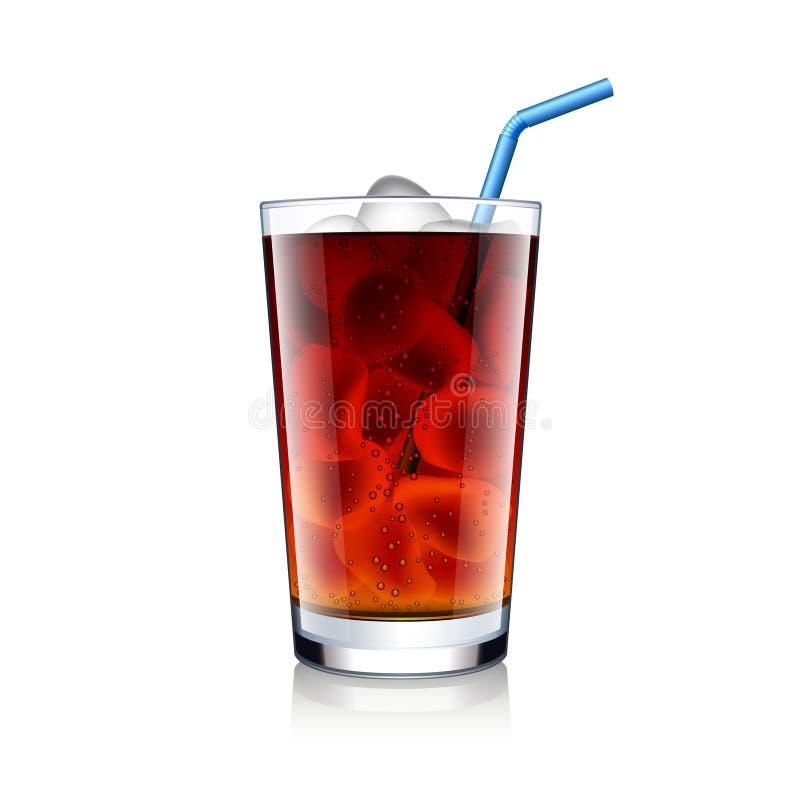 与冰块的可乐玻璃在白色传染媒介 向量例证