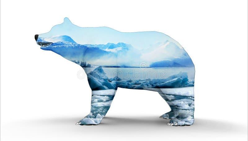 与冰山概念艺术的北极熊 库存例证