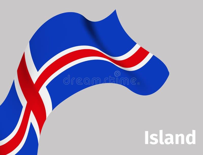 与冰岛波浪旗子的背景 库存例证