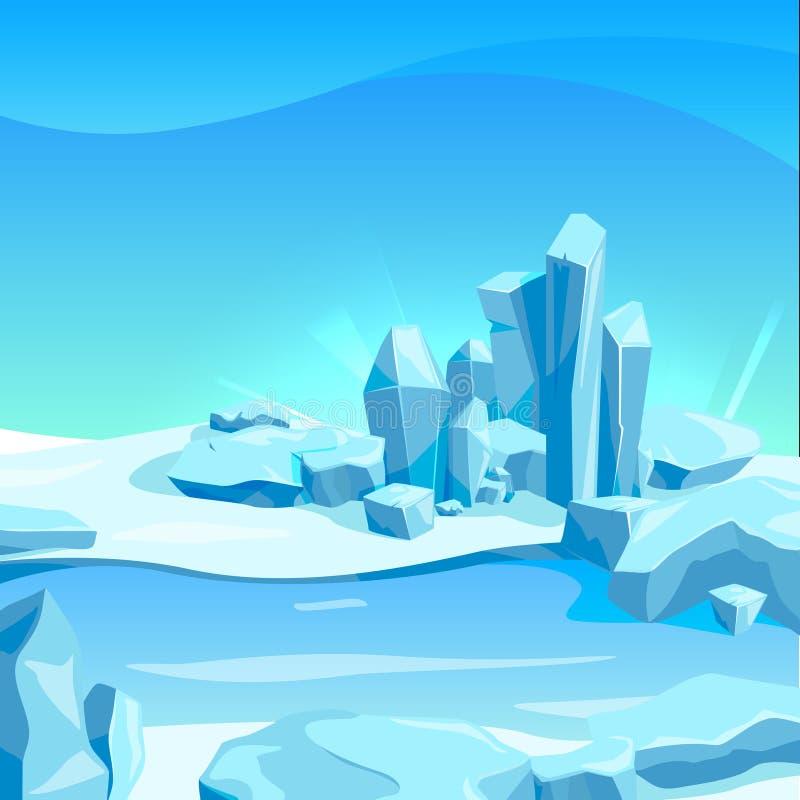 与冰岩石的冻结的风景 动画片背景传染媒介例证 向量例证