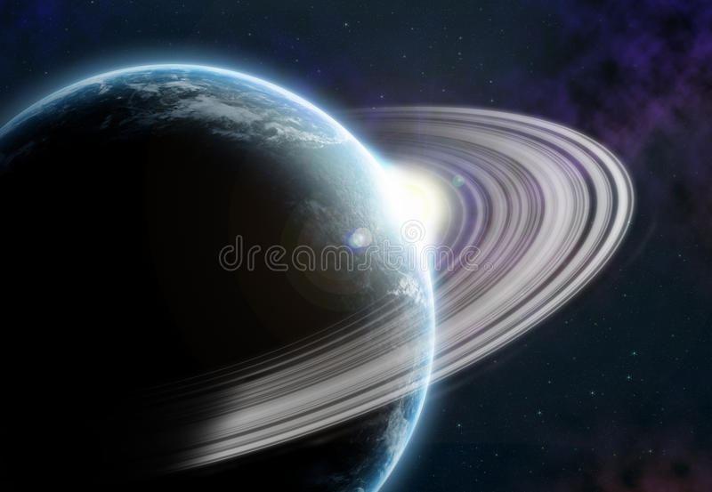 与冰微粒圆环的行星  免版税库存照片