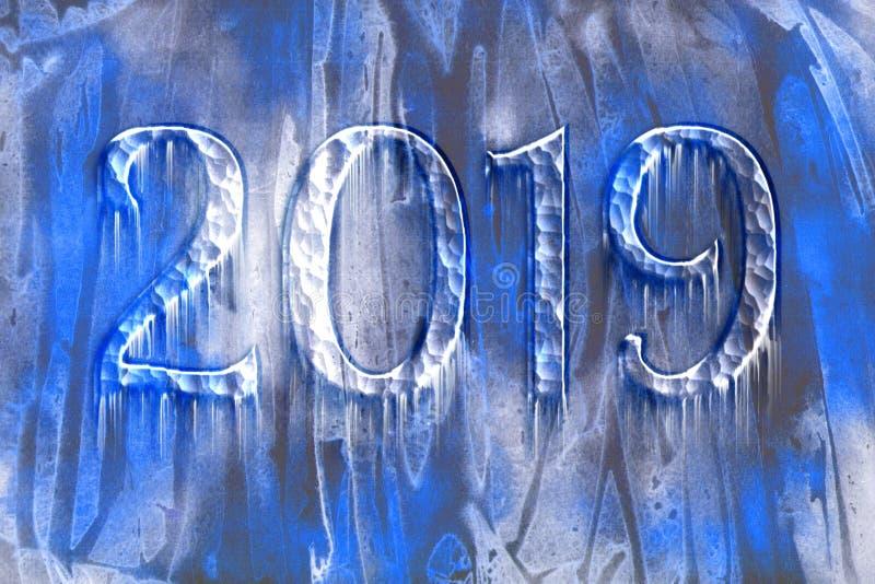 2019与冰柱的冻结的文本与冷淡的样式 库存例证