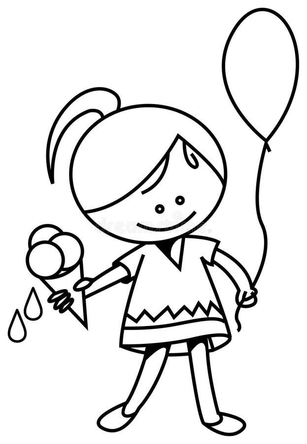 与冰淇凌和气球的孩子 向量例证