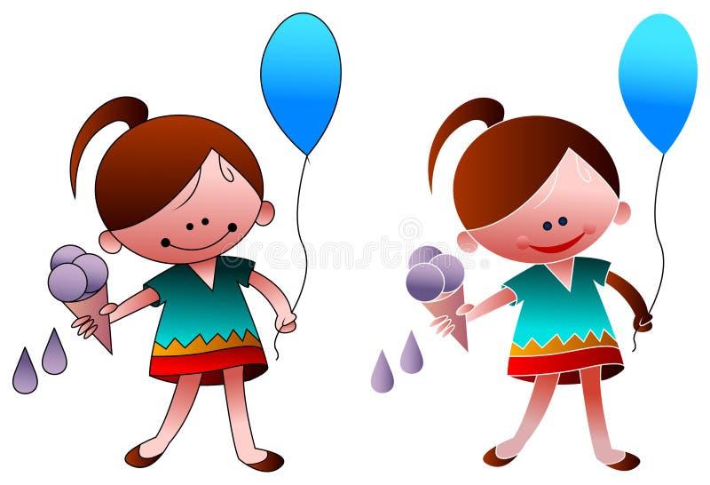 与冰淇凌和气球的孩子 库存例证