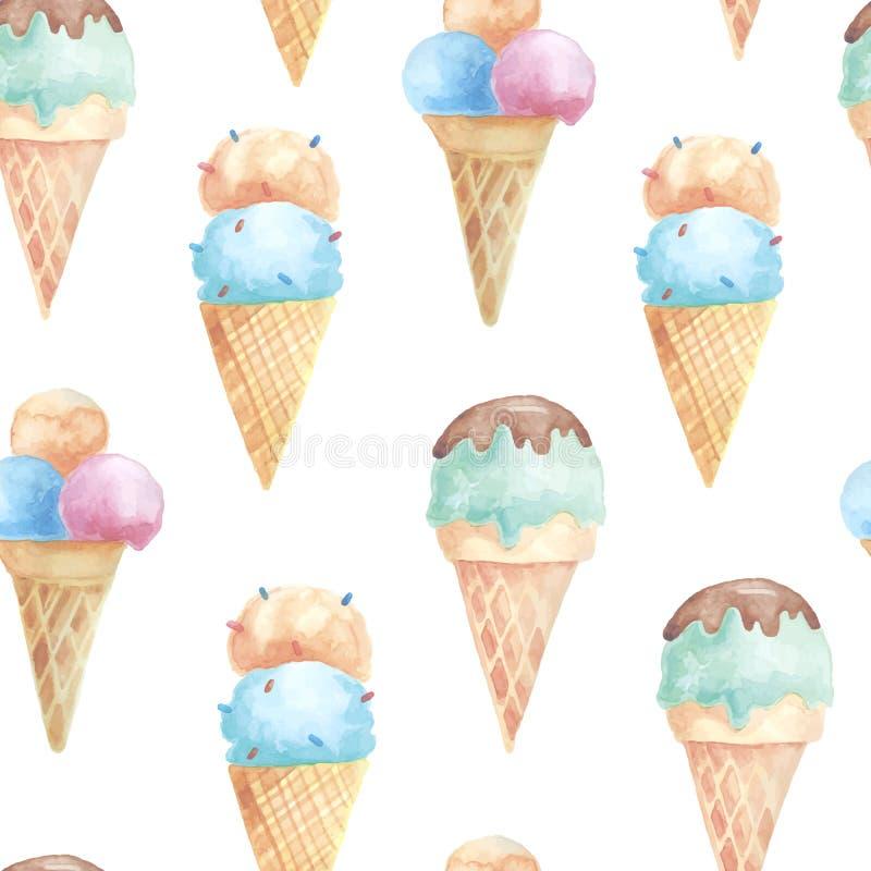 与冰淇凌奶蛋烘饼锥体的无缝的样式 向量例证