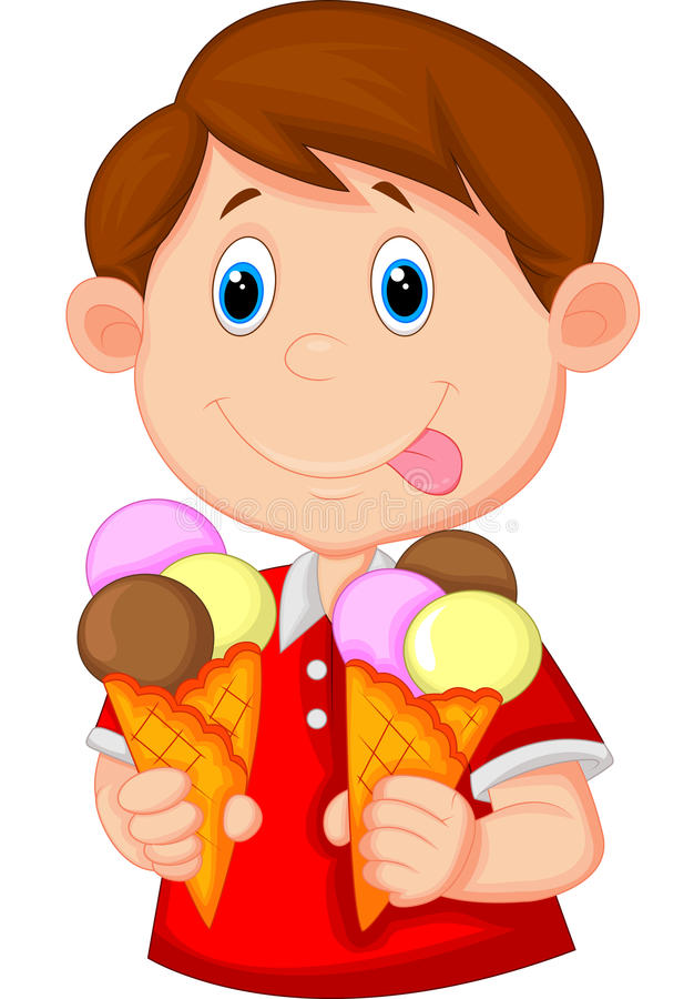 与冰淇凌的小男孩动画片 向量例证