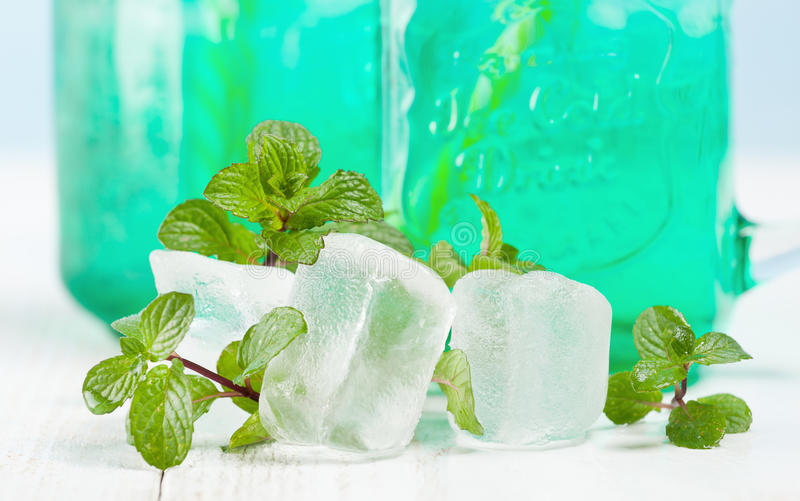 与冰的饮料新鲜薄荷 库存照片