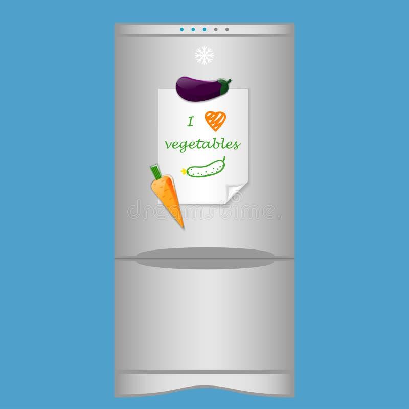 与冰箱末端空白笔记的象我爱在磁铁的菜 向量例证