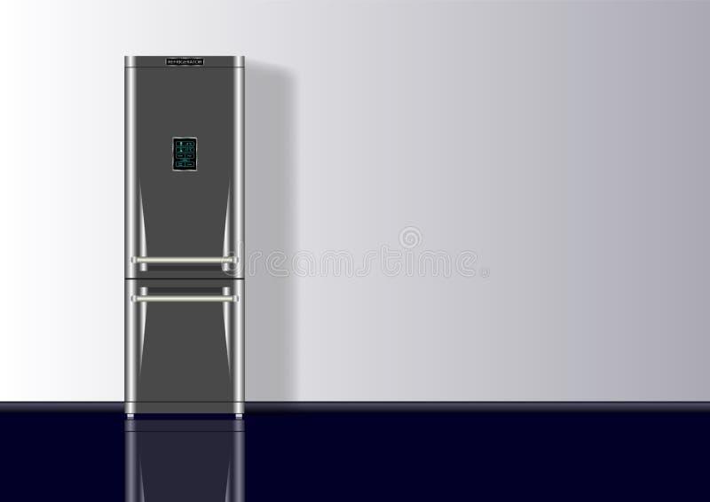 与冰箱的现实3d最小的构成背景 皇族释放例证