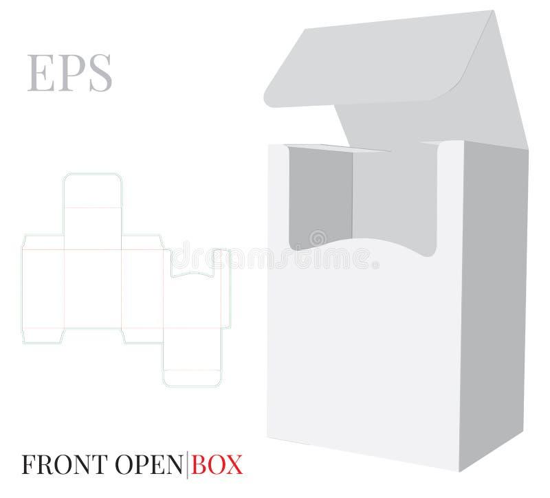 与冲切的线的前面开放箱子模板 与冲切/激光的传染媒介削减了层数 白色,清楚,空白被隔绝的纸箱嘲笑  向量例证