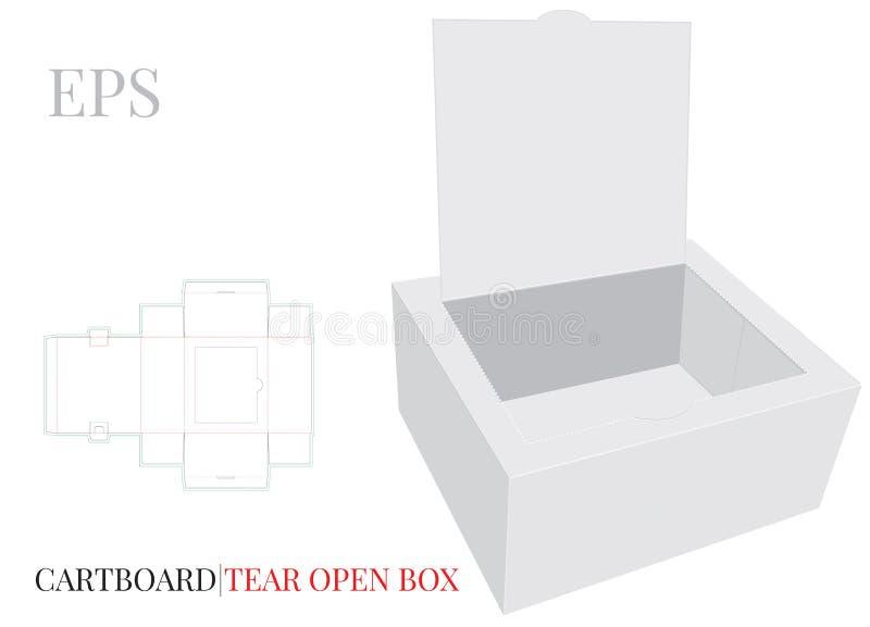 与冲切的线的泪花开放箱子模板 与冲切/激光的传染媒介削减了层数 白色,空白,被隔绝的开放纸箱嘲笑  皇族释放例证