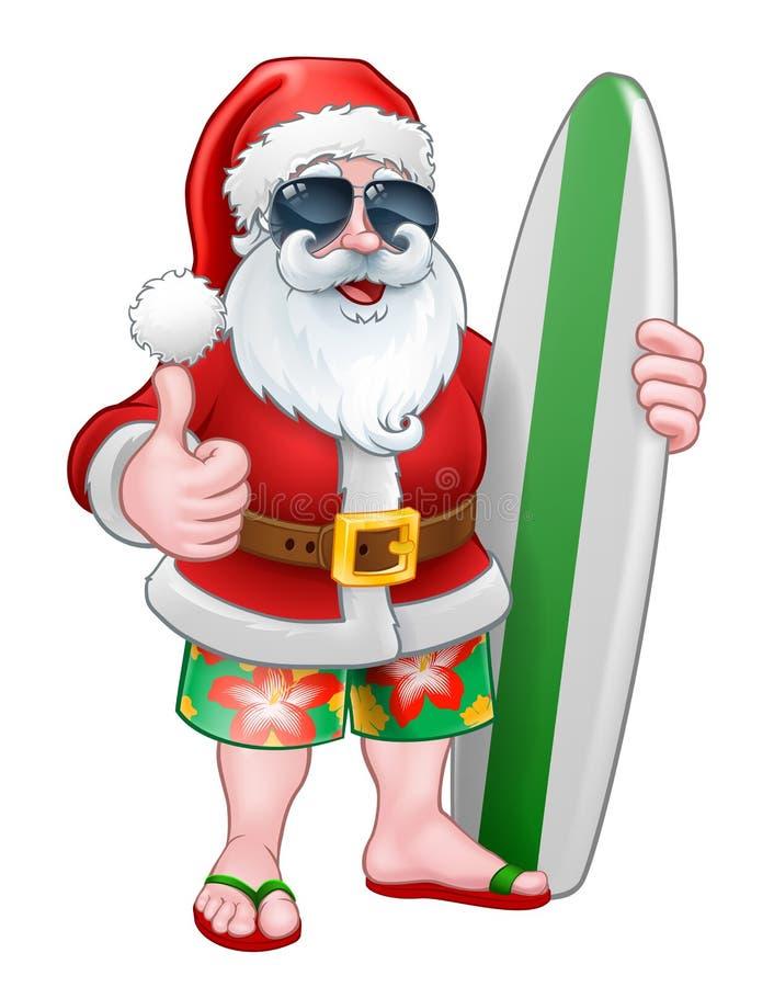 与冲浪板和树荫动画片的凉快的圣诞老人 皇族释放例证